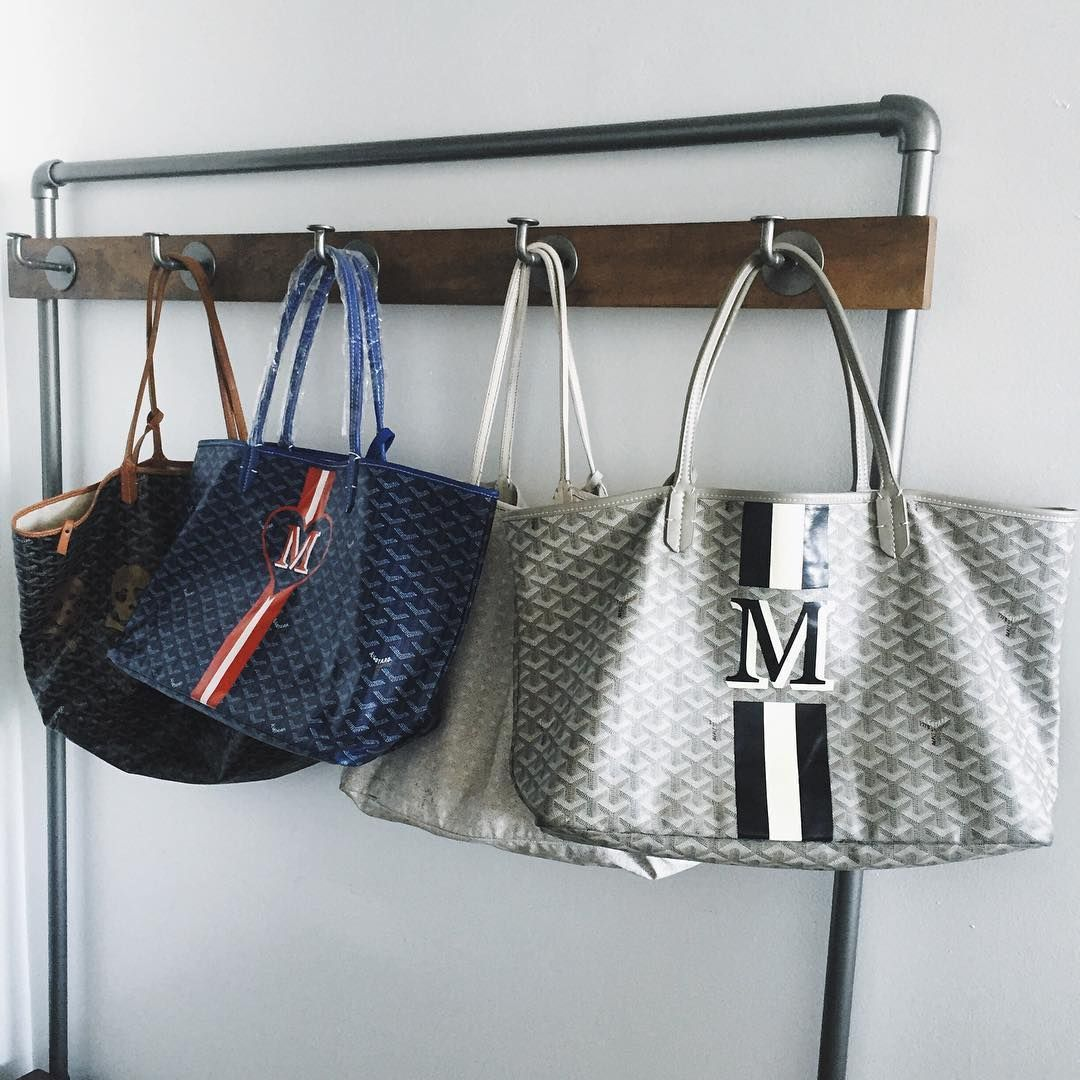 monogrammed goyard totes grey with pink and white or cream initials
