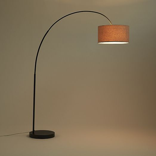 Overarching Linen Shade Floor Lamp - Antique Bronze | Floor lamp ...