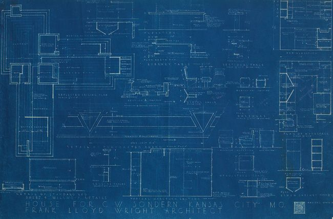 Flwright blueprint drawing architecture pinterest a frank lloyd wright blueprint on paper illustrating the heating and framing of the house of c malvernweather