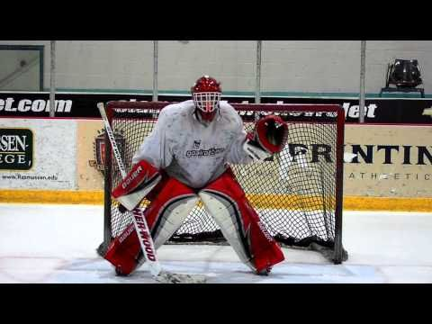 Glove And Blocker Saves Goaltender Cheats To One Side Focusing On Following The Puck With His Her Eyes Engaging The Sti Hockey Goalie Hockey Workouts Goalie