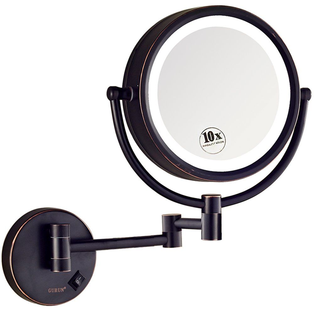 Gurun Led Lighted Wall Mount Makeup Mirror With 10x Magnification Oil Rubbed Bronze Finish 8 5 Inch Brass M1809do 8 5in 10x In 2020 Wall Mounted Makeup Mirror Makeup Mirror Led Mirror