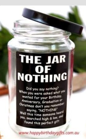 The Jar Of Nothing Diy Brother Gift Birthday Gifts Awesome