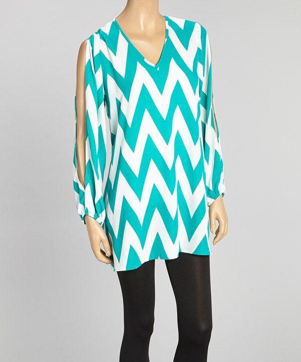 Look at this #zulilyfind! Adrienne Jade & Ivory Zigzag Tunic by Adrienne #zulilyfinds