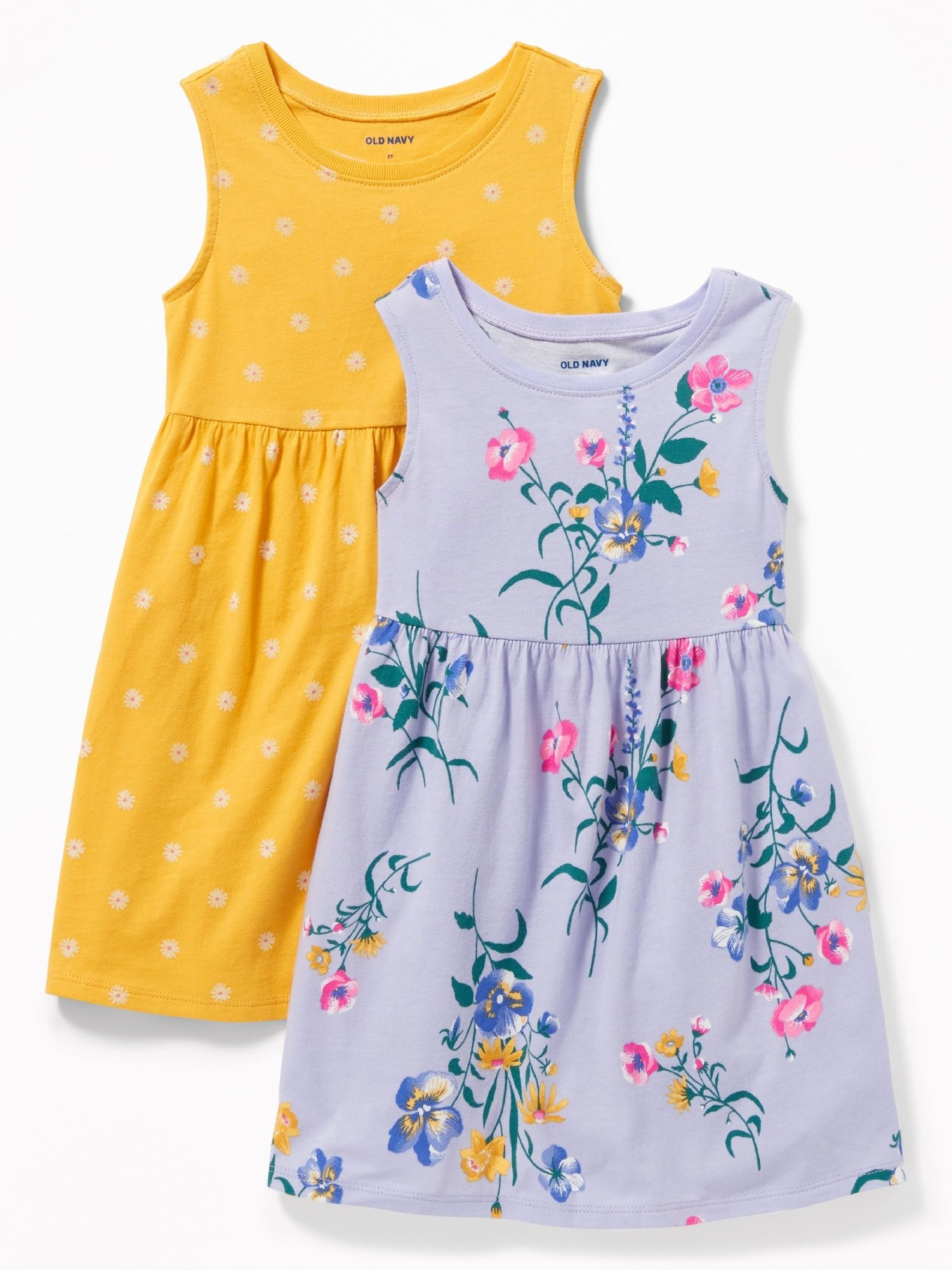 4763f11e54c85 Floral-Print Jersey Fit & Flare Dress 2-Pack for Toddler Girls | Old Navy