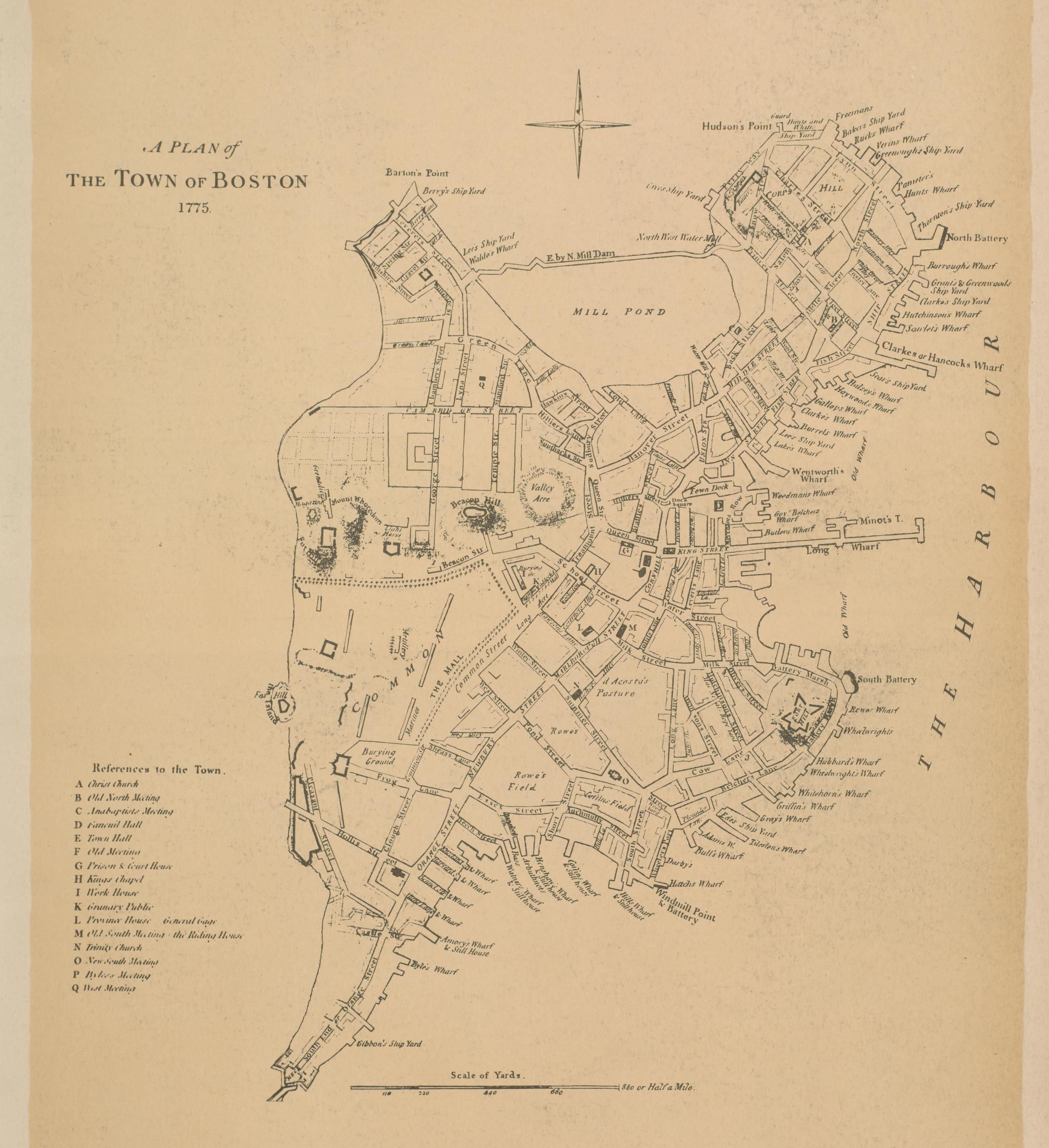 Boston Town Plan Map From The Atlas Of The