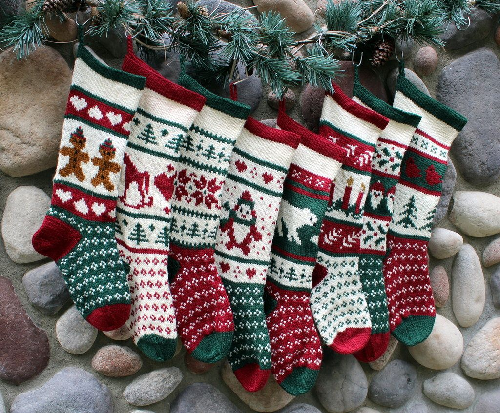 Custom order hand knit christmas stockings by sunflowerdesigns1 on this delightful christmas stocking is knit using fair isle stranded color work it also features a fabulous short row heel technique that will have no bankloansurffo Choice Image