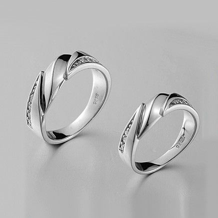 Custom Engraved Cubic Zirconia Wedding Bands for Couples