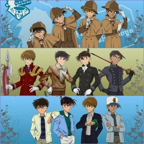The 4 Geniuses of Detective Conan. Shinichi Kudo and Kaito mine anyway!