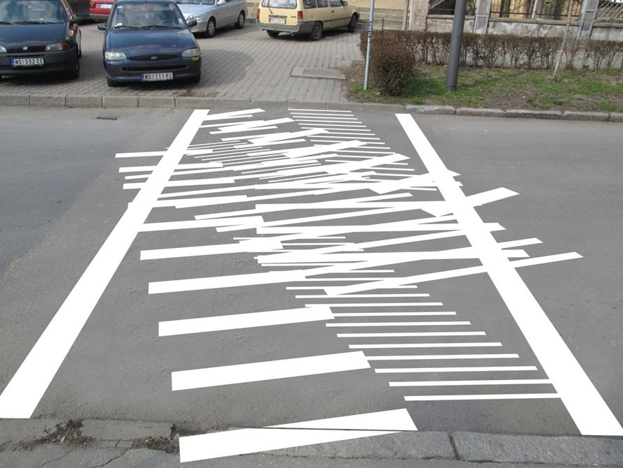 Line Drawing Of Zebra Crossing : Brilliant execution pedestrian crossing novi sad
