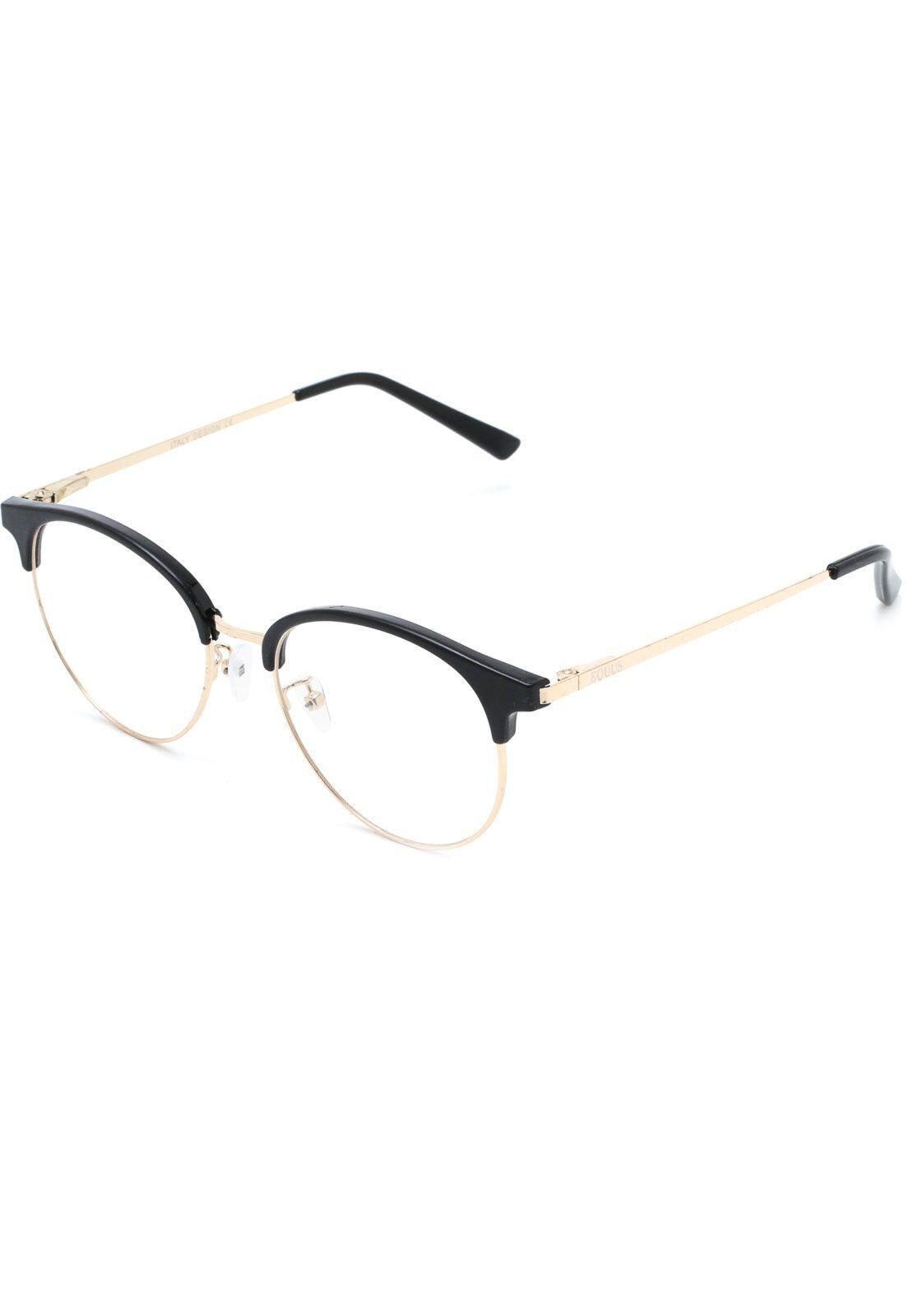 Oculos De Grau Equus Redondo Preto Dourado Em 2020 Oculos De