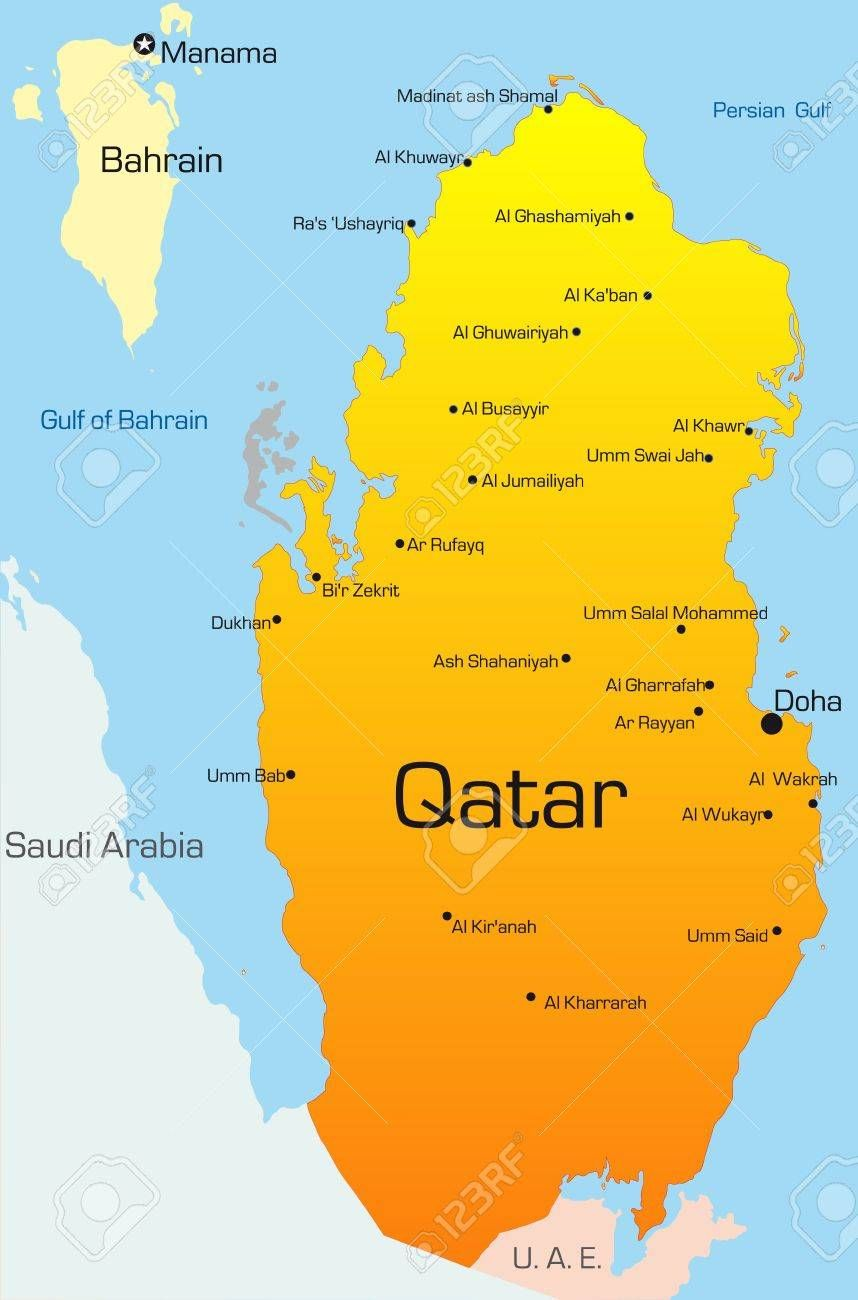 Qatar On The Map Of World on