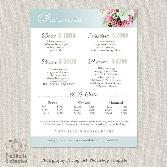 Wedding photography package pricing list by for Wedding photography packaging ideas