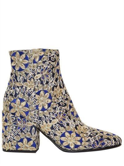 STRATEGIA - 70MM EMBROIDERED SATIN ANKLE BOOTS - BOOTS - BLUE/GOLD -  LUISAVIAROMA · Fashion BootsBlue GoldFashion StoresLadies FashionWomens ...