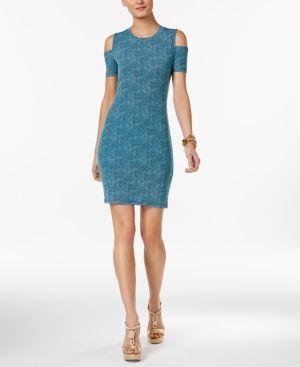 22bec9e1e56 Michael Michael Kors Petite Printed Cold-Shoulder Sheath Dress - Blue P XS