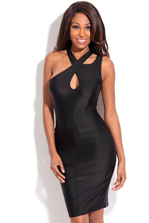 BLACK FRONT KEYHOLE CROSSED NECK NYLON MIDI DRESS,Women Party Dresses,Sexy Dress,Little Black Dresses,Evening Party Dresses,Sexy Mini Dresses,Cocktail Party Dresses,High Low Dresses,White and Black Party Dresses  @  - Please follow me for more lovely pins @ www.pinterest.com/oliviabbradley ✿
