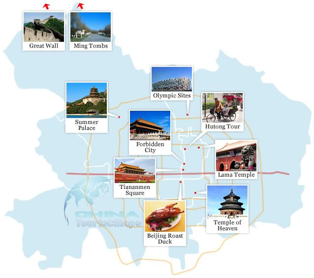 Beijing Top Attractions Map Great Wall Of China Forbidden City - 10 must see attractions in beijing