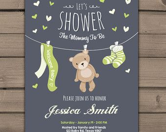 Little Man Baby Shower invite Baby Shower by Anietillustration