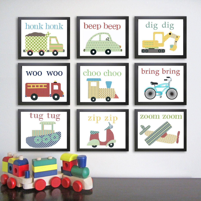 Vehicle Kids Wall Art.  Transportation Nursery Art Prints. Children decor. Children's Art.  Set of 9 11 x 14. Baby boy art. Vehicle decor.. $185.00, via Etsy.