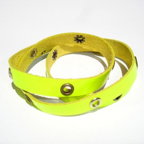 Bracciale Studs Neon Fluo Yellow  Bracciale da indossare a più giri (pelle) Multiloop bracelet (leather)