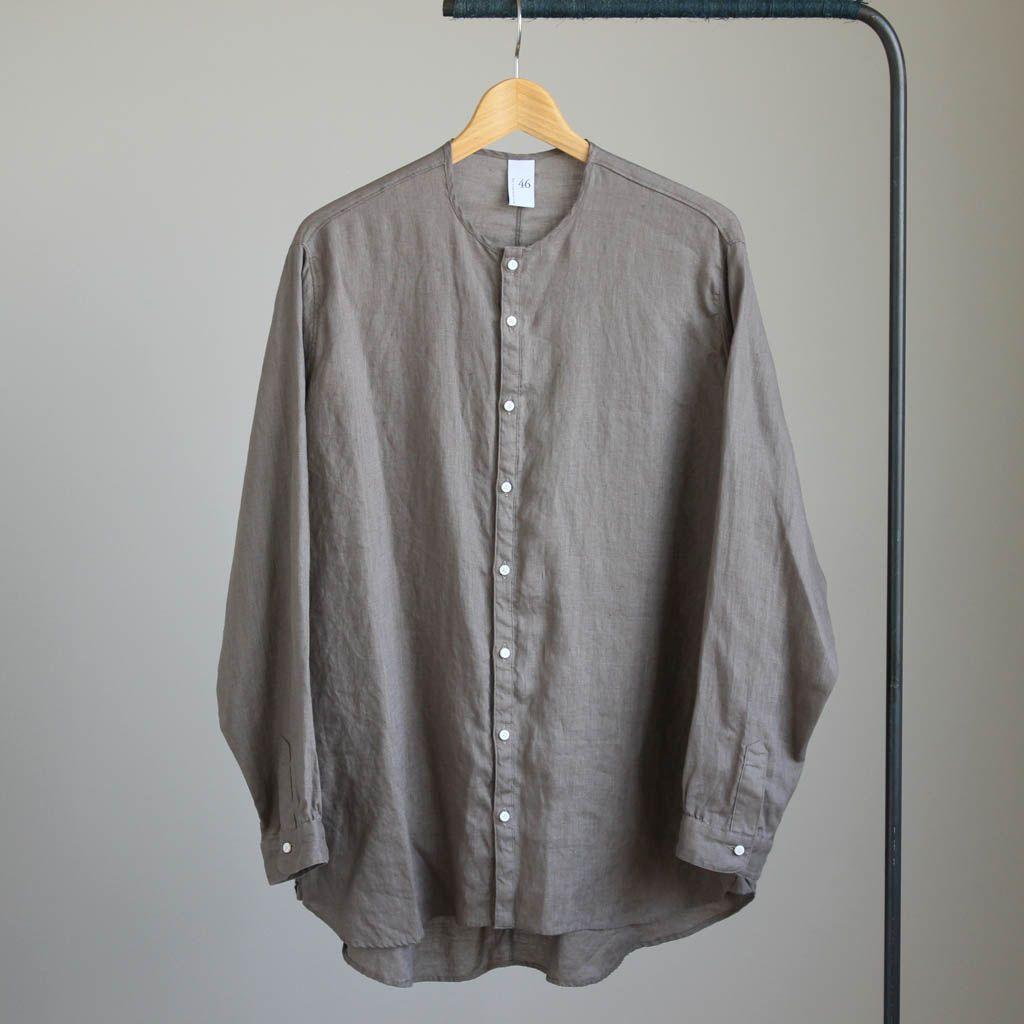 LMKSH リネンキャンバスノーカラーセミワイドシャツ #grege