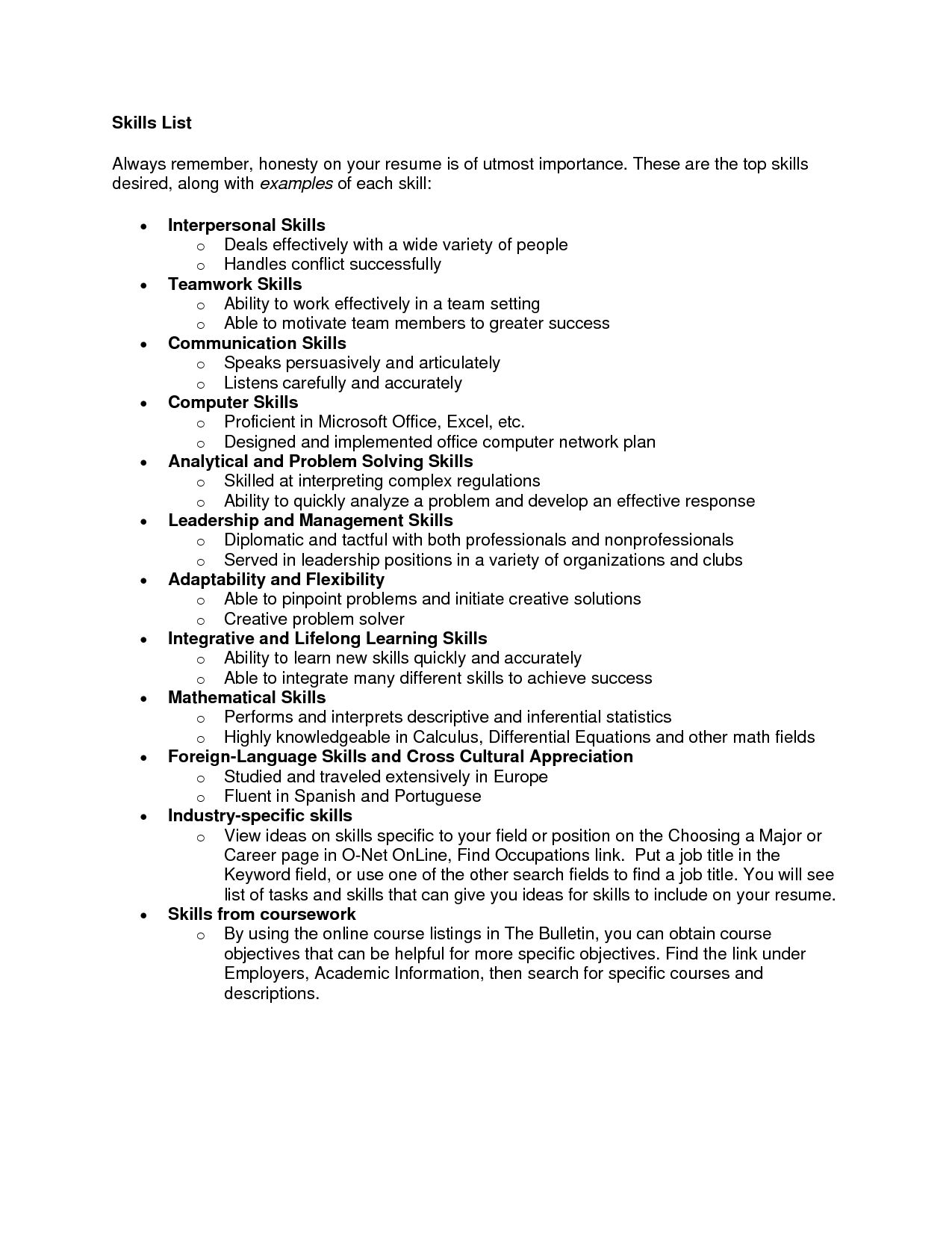 Resume Skills Example List Skills Resume Photo For Example Career Termplate Free