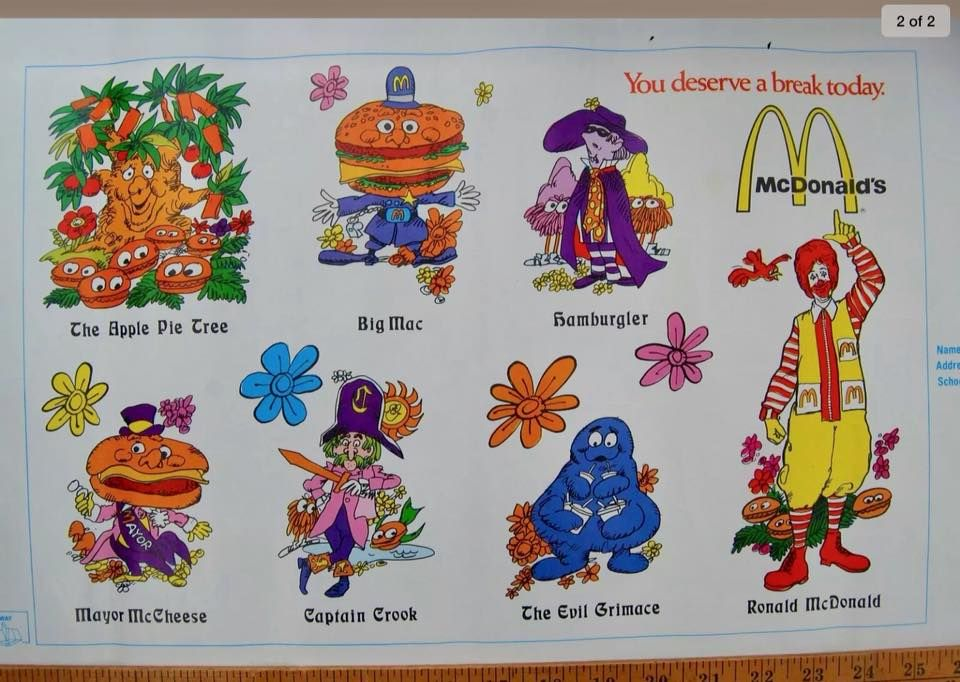 1972 Mcdonaldland Book Cover With The Original Characters Ronald Mcdonald Apple Pie Tree Officer Big The Good Old Days The Originals Characters Retro Comic