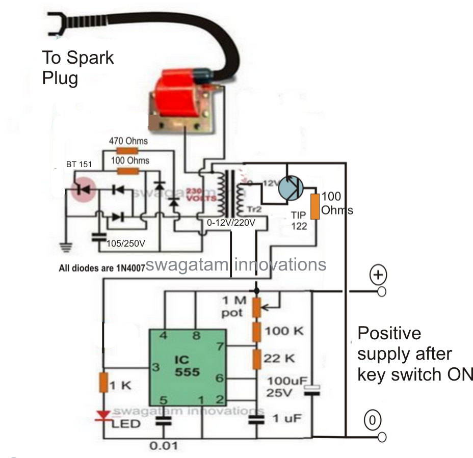 electronic 12v dc capacitive discharge ignition cdi circuits homemade circuit projects [ 928 x 899 Pixel ]