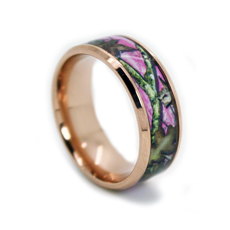 Camo Wedding Rings by 1CAMO Pink Camo Titanium Wedding
