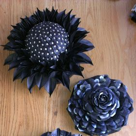 3 flowers I made out of bicycle inner tire rubber