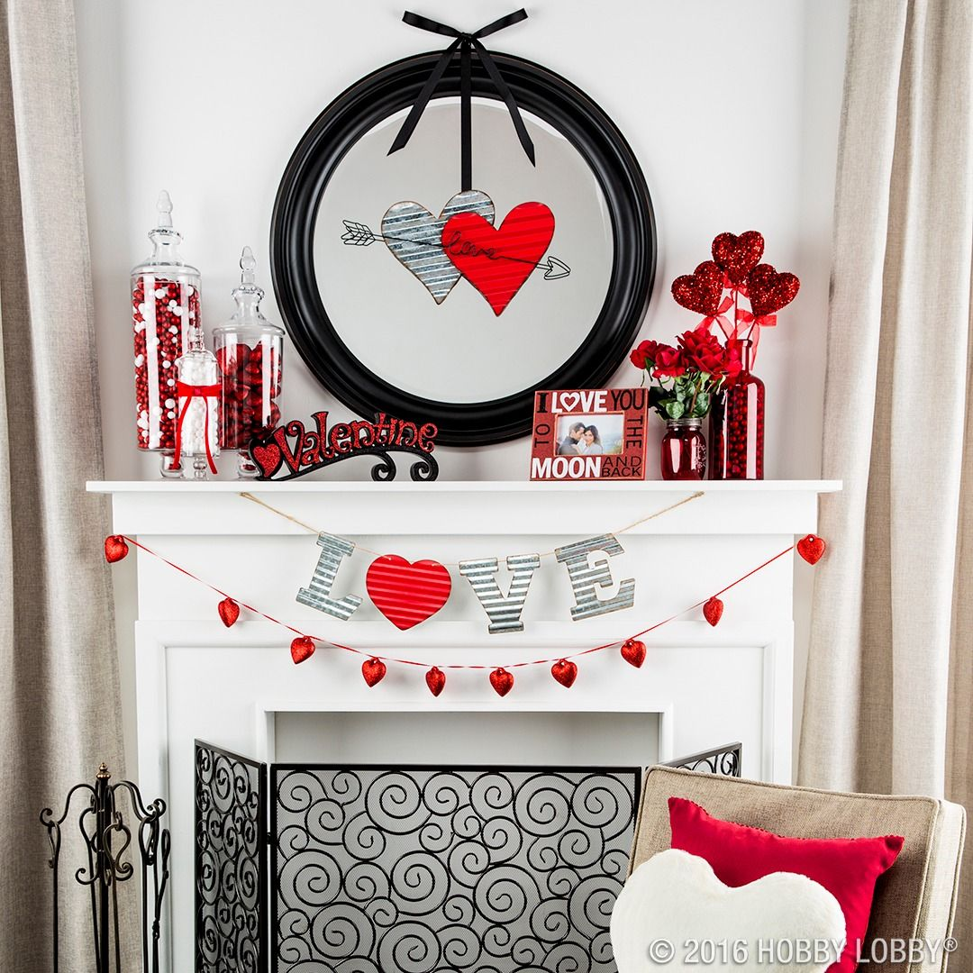 Show Your Space Some Love For Valentine S Day With Darling Decor Valentines Mantle Valentines Day Decorations Valentine S Day Diy