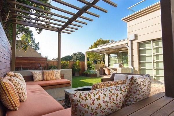 Beautiful Small Garden Backyard Design Ideas Wooden Pergola Seating Area  Soft Pillows Fireplace
