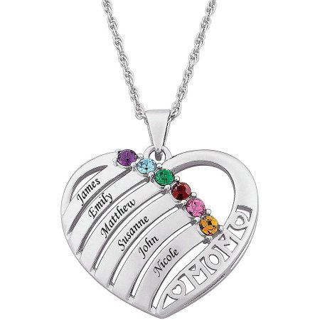 0552af27f Personalized Mother Birthstone & Name Heart Necklace, 20 inch, Women's, gold