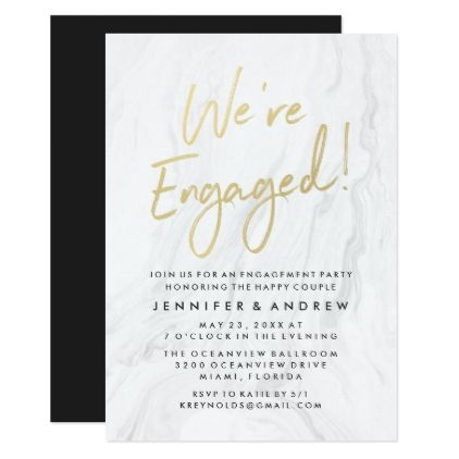 Modern White Marble Gold Script Engagement Party Card - how to word engagement party invitations