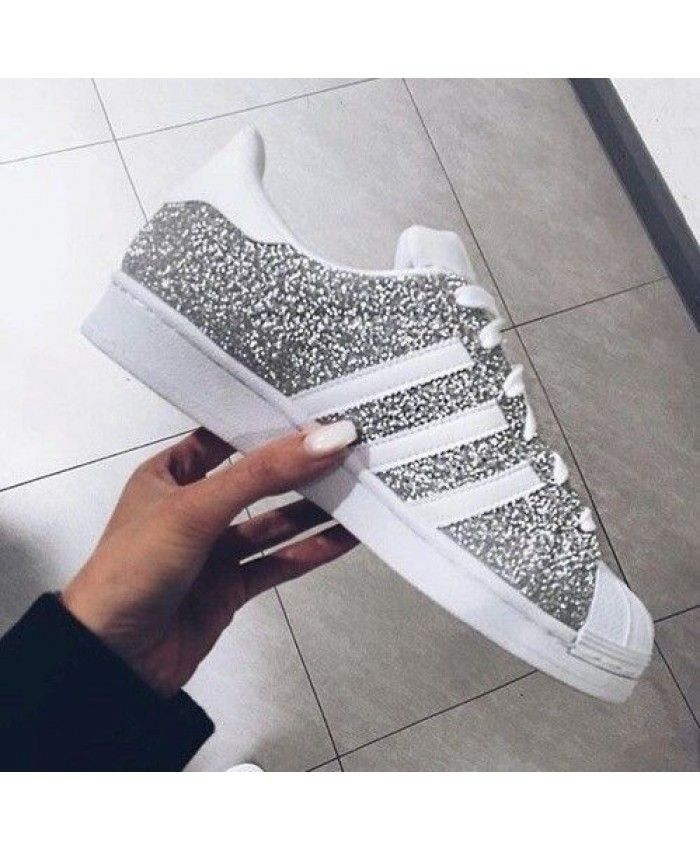 Adidas Superstar White Grey Glitter Womens Shoes Appearance ...