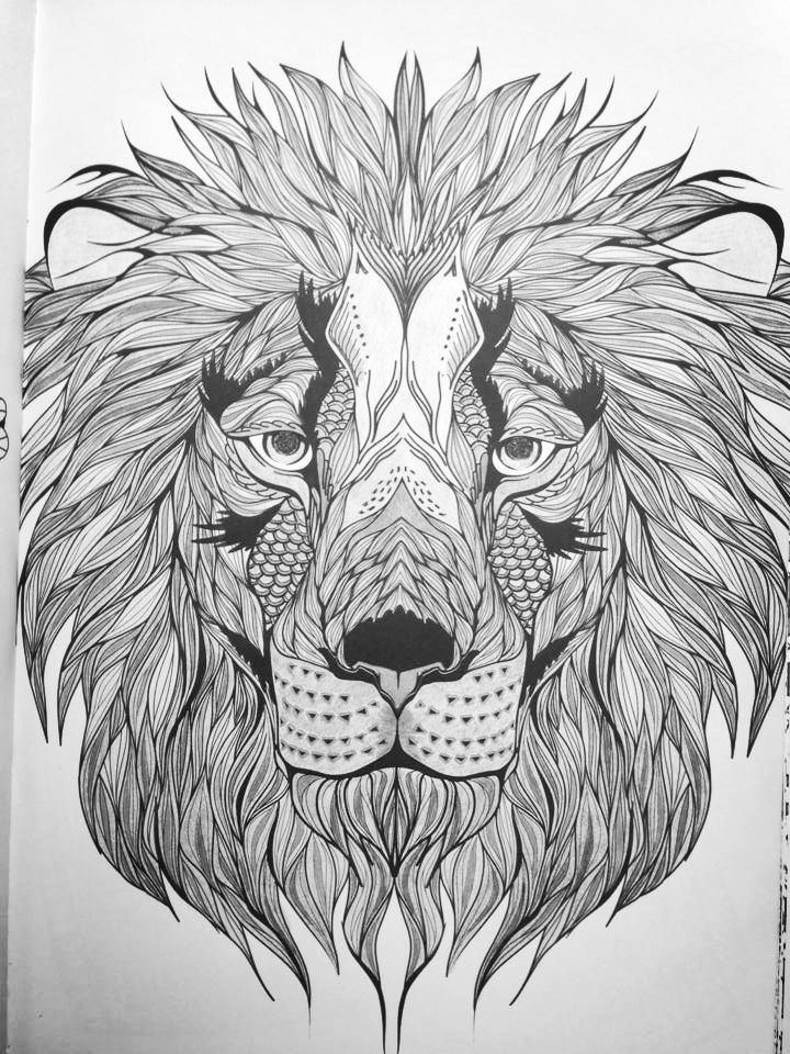 lion coloring page for adults