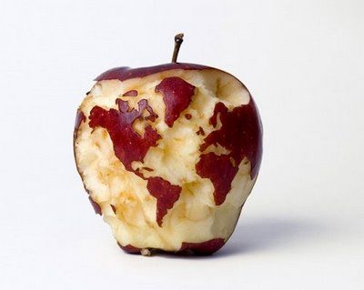 An oldie but always a goodie - the map of earth carved on an apple - new apple app world map