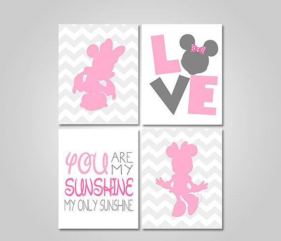 DISNEY MINNIE MOUSE NURSERY BEDROOM WALL ART   YOU ARE MY SUNSHINE   PINK  GREY PRINTABLE