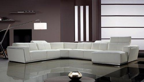 tempo white top grain italian leather living room sectional sofa