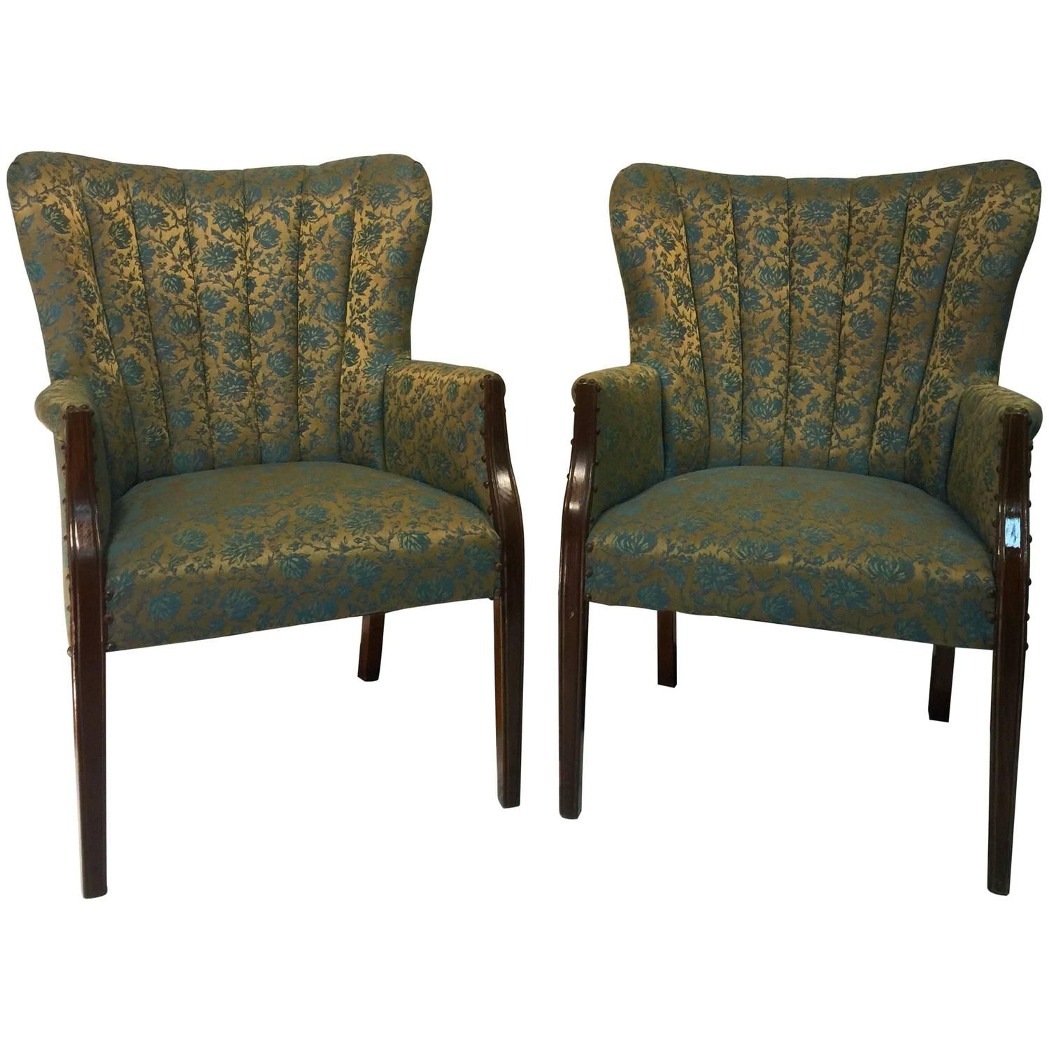 Hollywood Regency Pair of Dorothy Draper Style Fan Back Armchairs