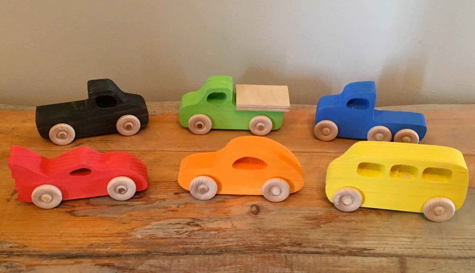Set Of 3 Wooden Toy Cars Car Wood
