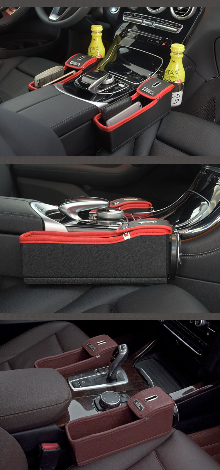 Leather Car Storage Bag Box Money Pot Beverage Holder Car Seat