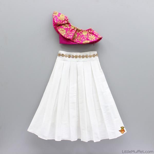 25d06da4d60c25 Pre Order  One Shoulder Crop Top With White Skirt