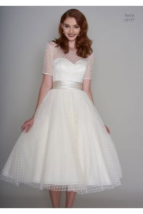 NELLIE 1950s Tea Length Polka Dot Short Vintage Wedding Dress With ...