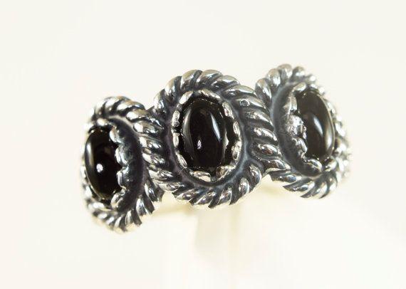 Sterling Silver 3 Stone Genuine Black Onyx  Rope by BoosJewelry