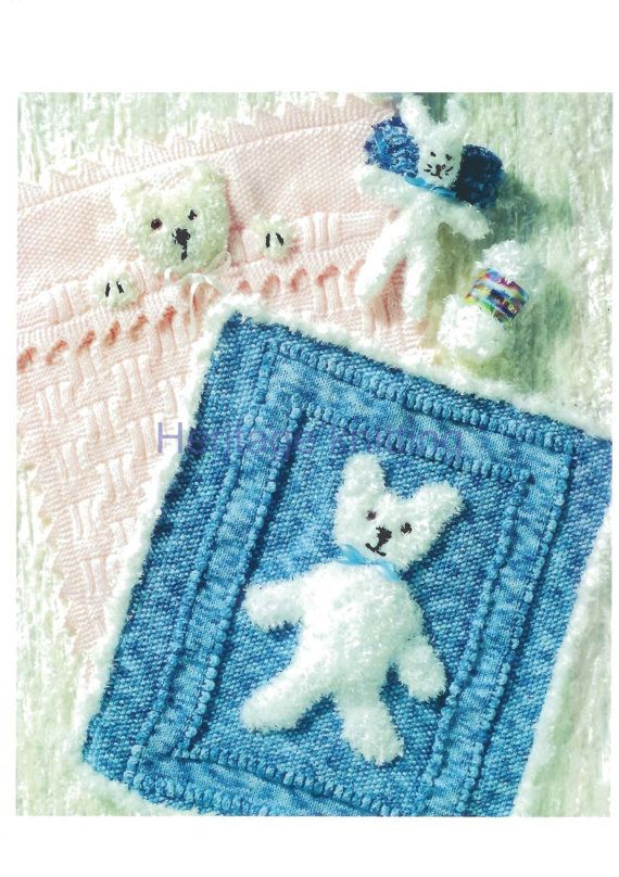 baby blankets and rabbit toy aran knitting pattern 99p pdf ...