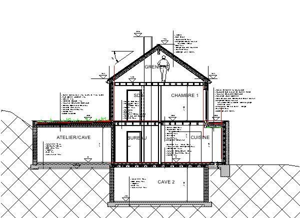 architecture  bois  Maison bioclimatique sur terrain en pente