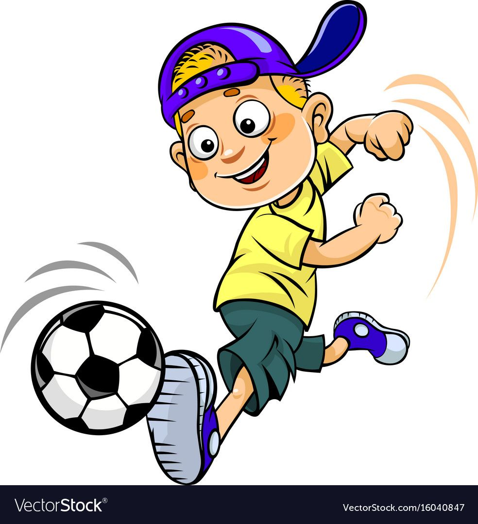 Soccer Cartoon Kid Vector Image On Vectorstock Kids Vector Football Drawing Cartoon Kids
