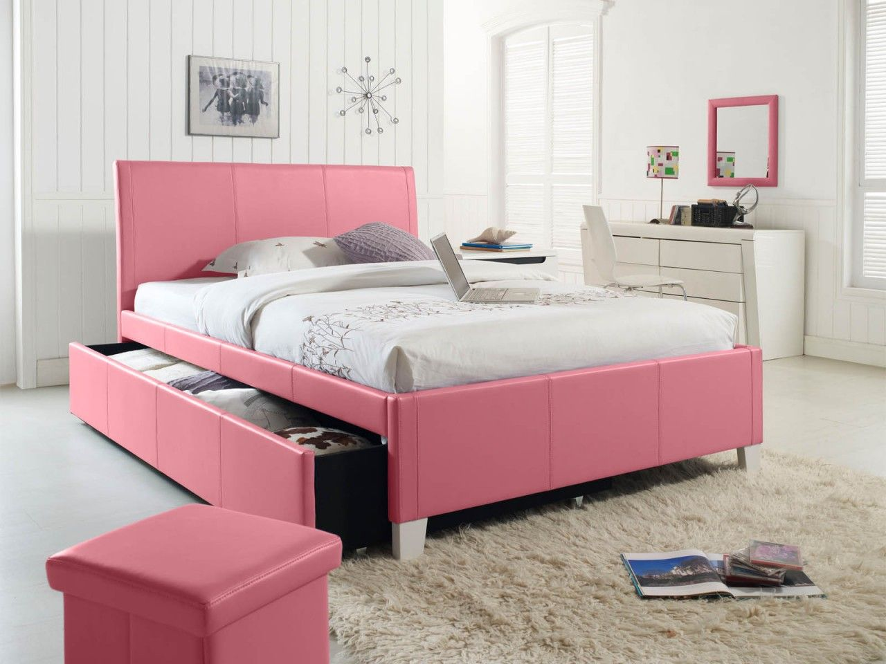 beautiful pink bed frame designs collection for girls room cool light pink upholstered trundle bed