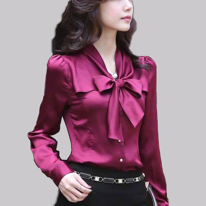 lace girl new 2017 fashion long sleeve bow tie women blouses