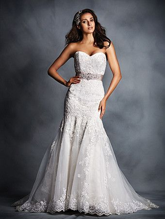 4986b2d84a36 Crystal Beaded Sash Fit & Flare Wedding Gown. This signature wedding gown  is heavenly with delicate layers and a removable decorated sash.
